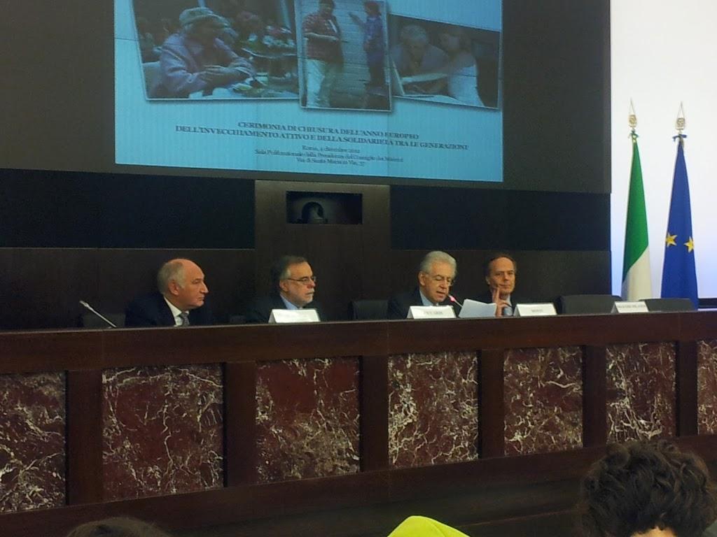 Il premier Monti alla chiusura dell'Anno Europeo dell'Invecchiamento Attivo